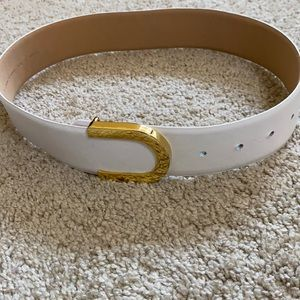 Lord & Taylor white leather belt